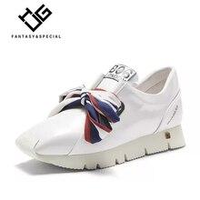 IGU Sneakers Para As Mulheres sapatos de Plataforma Plana Casuais Sapatos de Couro Genuíno Black Butterfly-nó Tenis Feminino Sneakers Fundo Grosso Senhora