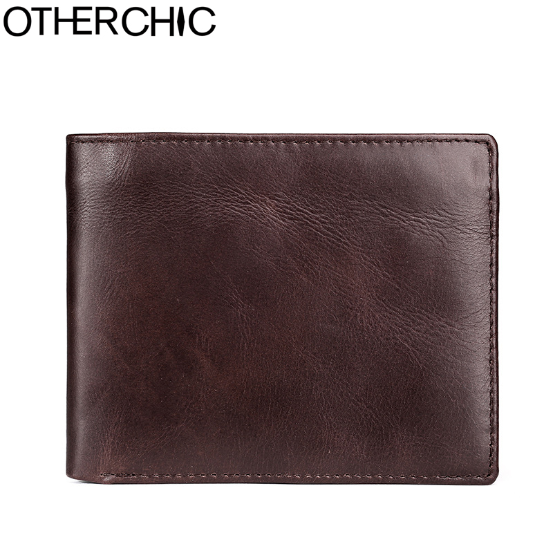 OTHERCHIC Genuine Cowhide Leather Purse Men Wallets Short Purse Card Holders Male Small Wallets Men Purses Coin Pocket 7N06-17 aoeo genuine leather men wallets short coin purse small vintage wallet cowhide leather card holder pocket purse men wallets mini