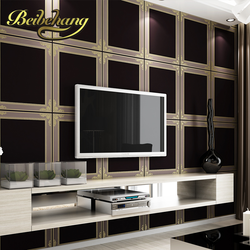 beibehang wall paper. Pune large square frame modern minimalist imported green non-woven wallpaper the living room backdrop bedr