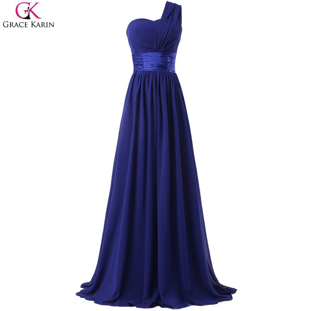 One Shoulder Purple Prom Dress Blue