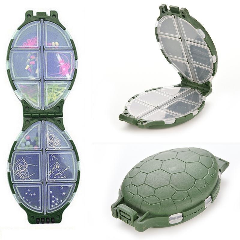 12 Compartments Tortoise Shape Fishing Box Plastic Turtle Fishing Lure Hooks Tackle Storage Box Pocket Case