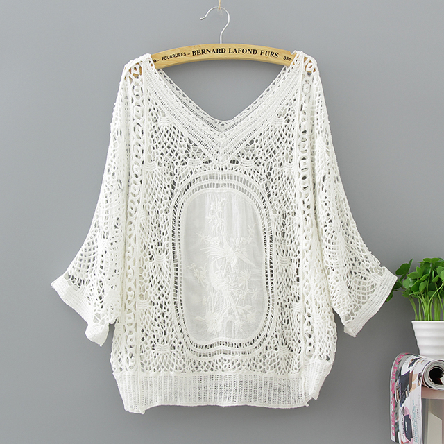 a2a0471d7ed821 Bohemian Gypisy Hippie Boho Harajuku Kimono Elegant Loose Lace Crochet Deep  V-neck Crop Top Moda Women Blouse Shirt Ladies Tops