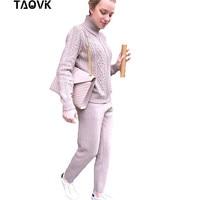 TAOVK Winter Woolen + Cashmere Knitted Warm Suits Women Knitting Zipper Cardigan + Trousers Pants Two Piece Set