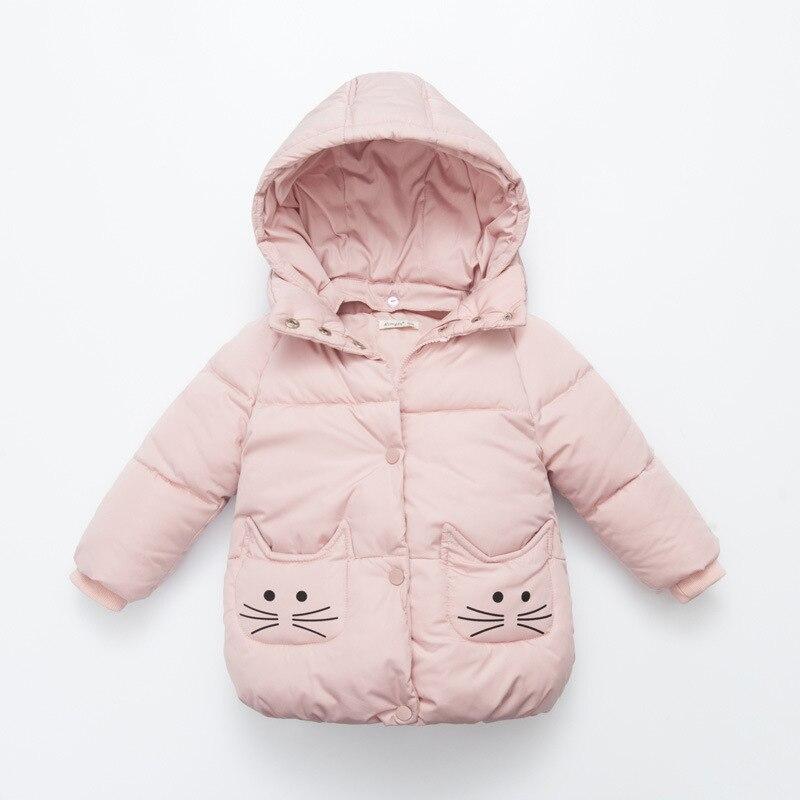 ФОТО 2016 new winter coat pocket baby girl cat patten Women's winter jacket baby girl's down coat meninas abaixo do bebe
