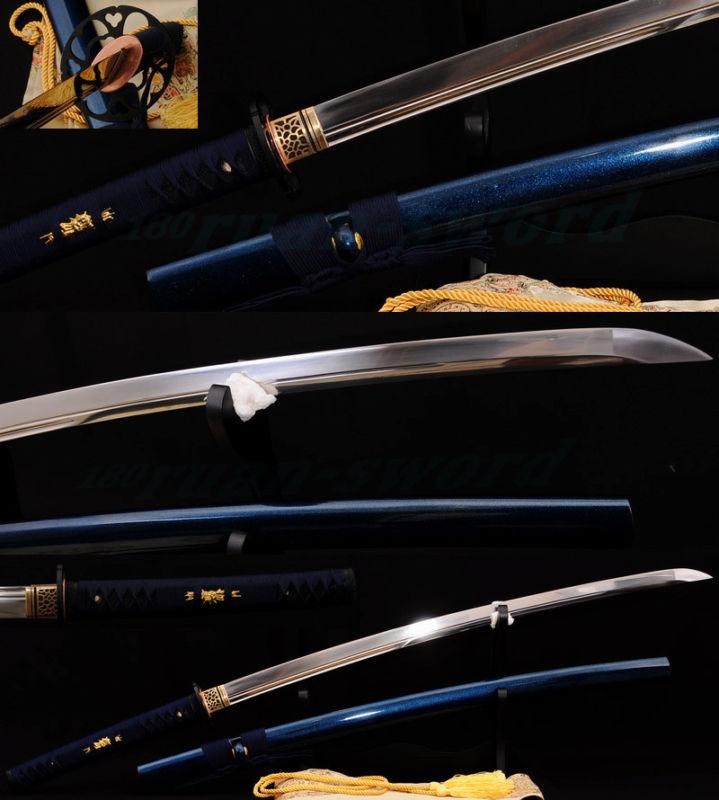 Japonský samurajský meč Katana 1095 z uhlíkové oceli Železná Tsuba Double Blood Groove