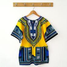 Традиционный Африканский принт хлопковые футболки Дашики модная