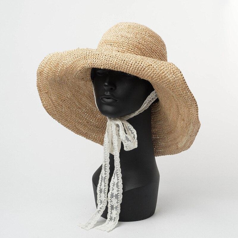 KöStlich 01901-hh7292 Handgemachte Bast Weiß Spitze Lange Band Freizeit Strand Dame Eimer Kappe Frauen Urlaub Hut Bekleidung Zubehör