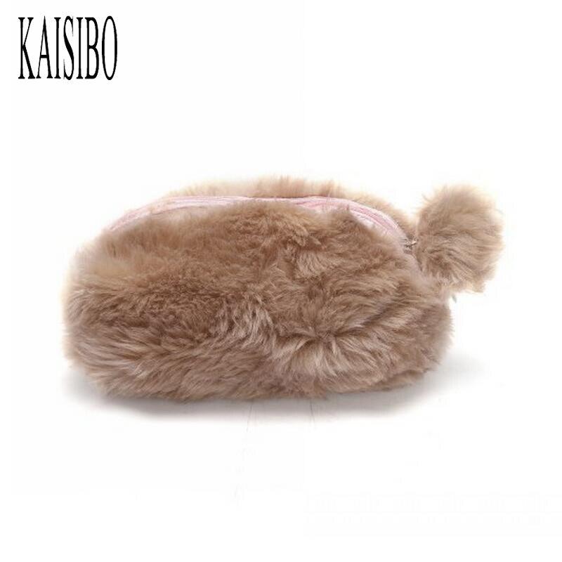 KAISIBO Plush Ball Hand Holding Women Makeup Bag Necessaries Plush Small Cosmetic Bag Mini Travel Cosmetics