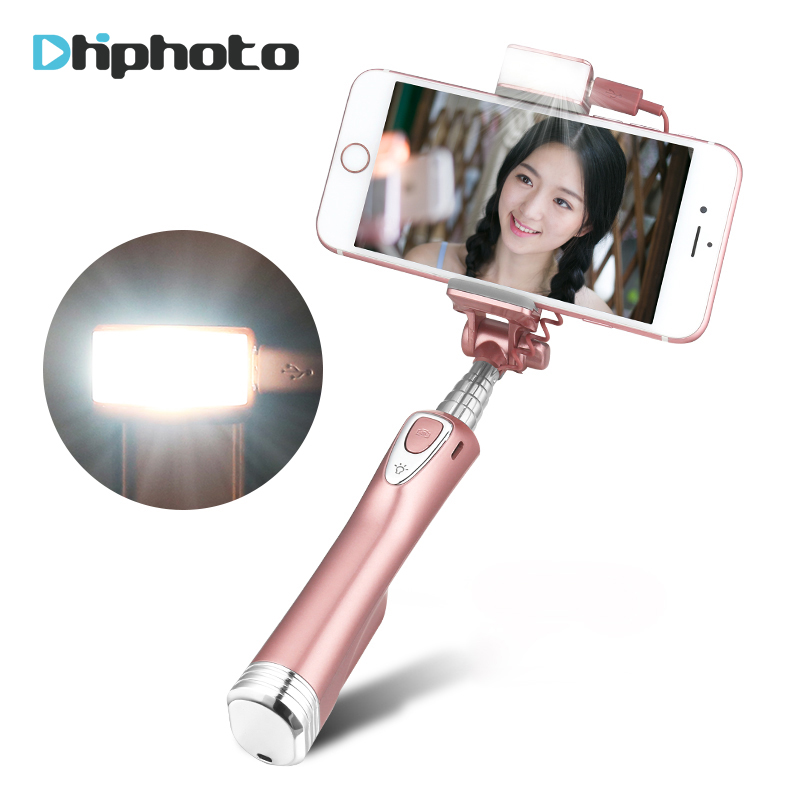 Ulanzi Bluetooth Selfie Stick Selfie Extendable Monopod with Rear Mirror and led Light for iPhone X