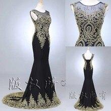 Auf lager Real Sample 2016 Schwarz Dubai Arabisch Mermaid Abendkleider Lange Schwarze Formale Abendkleider robe de soiree longue