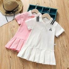 New Summer Girls Dresses Kids Short Sleeve Sports Dress Children Teenis Dresses Vestido Baby Girl Clothing цена
