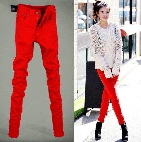 Aliexpress.com : Buy Red Jeans men autumn men jeans slim pencil ...