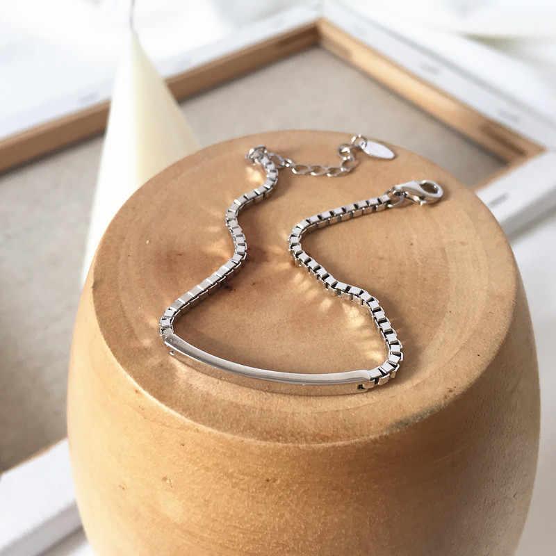 Pansysen 100% Massief Echte 925 Sterling Zilveren Box Ketting Link Armband Voor Vrouwen Meisjes Dame 19Cm Vrouwen Fijne sieraden Armbanden