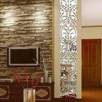 DIY Ev Dekor Oturma Odası Girişinde TV Arka Plan Dekorasyon Ayna Duvar Çıkartmaları Akrilik 3D Aynalı Sticker Mural