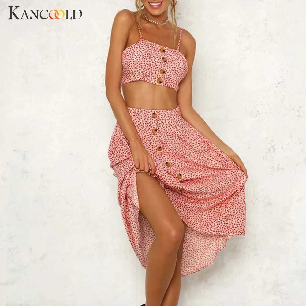 bd1513561 ... KANCOOLD Set women Casual Strappy Printed lace-up Tank Two-Piece Sling Long  Skirt ...