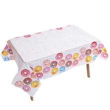 Omilut Donut Disposable Tablecloth Sweet Baby Shower Girl Party Decor Cupcake Toppers Supplies Set