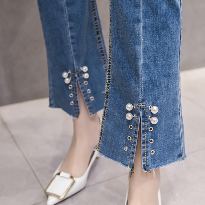 Open Crotch Jeans With Pearls Vintage Cropped Flares Bottome Jeans Stretch High Waist Split Jean Shaping Wide Leg Denim Boot Cut