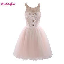 KapokBanyan Real Photo Pink Beads Appliques Short Prom Dresses 2017 Custom made Lace Party Gowns For Sweet 16 Junior Young Girls