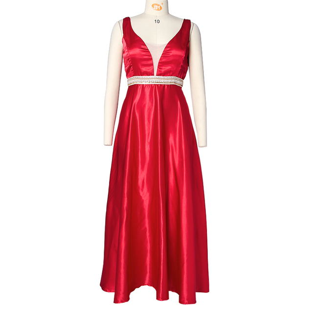 Vintage Vestidos Female Clothing Women Sexy V Neck Sleeveless Dresses Elegant Backless Long Maxi Party Dress Plus Size Dropship