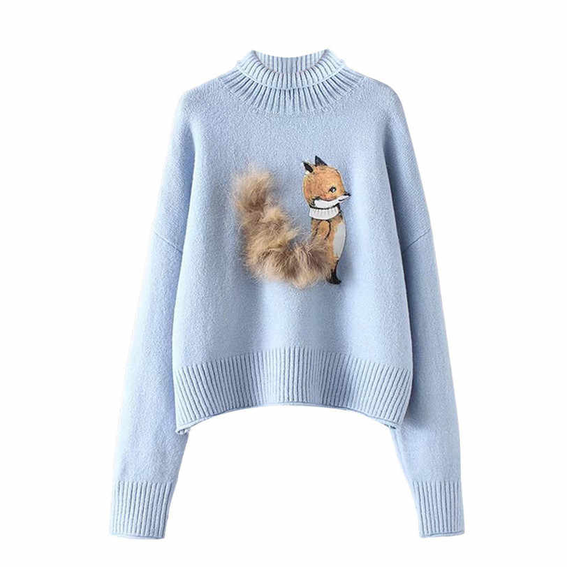91934c2865e89 cute squirrel pullover women 2018 turtleneck women s sweater knitted  pulover feminino manga longa inverno dropshipping