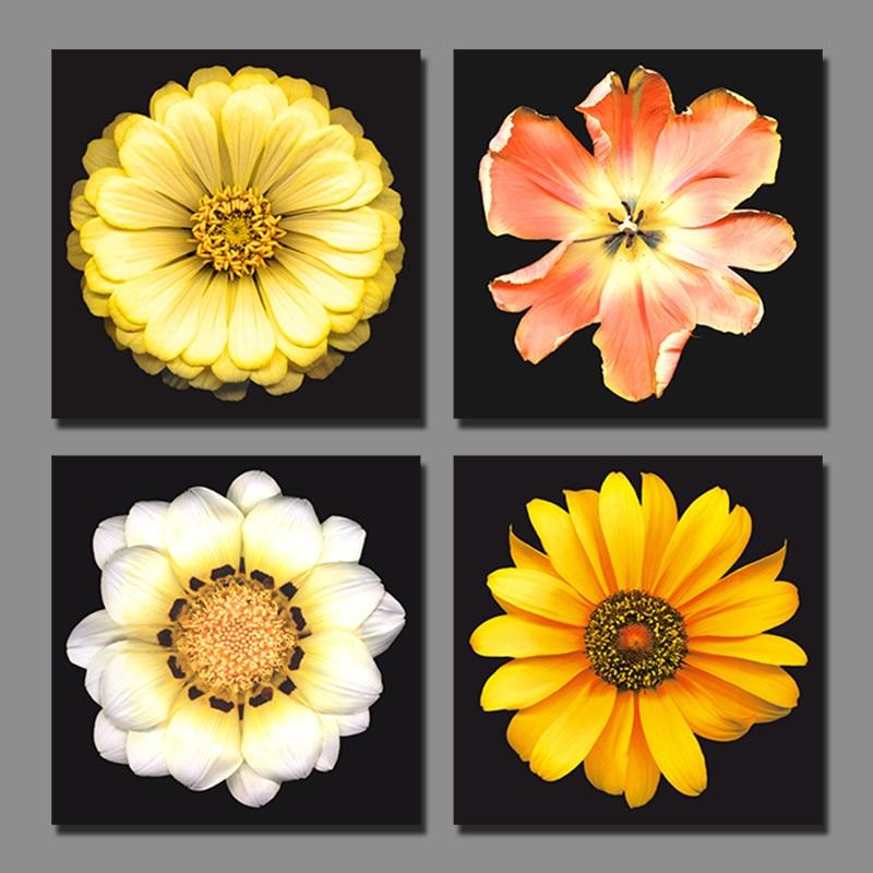 ⃝4pcs/set Modern Fashion Yellow flowers Picture decoration canvas ...