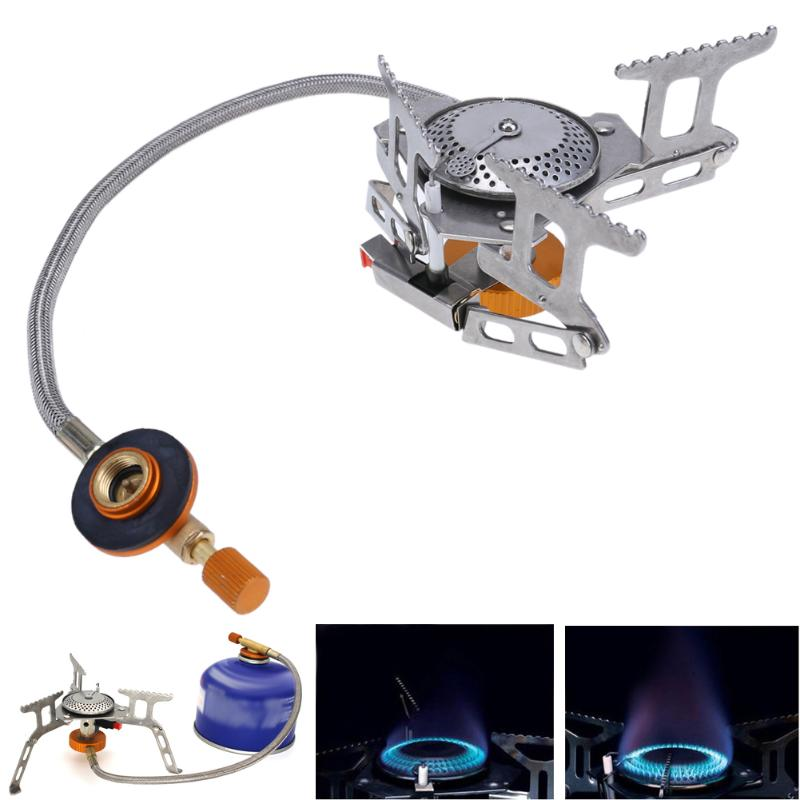 3000W Portable Outdoor Gas Stove Mini Camping Picnic Kitchen Folding Lightweight Stainless Steel Oven Burning Split Stove Tools point break outdoor camping cookware portable picnic stoves gas stove oven split type cs g18