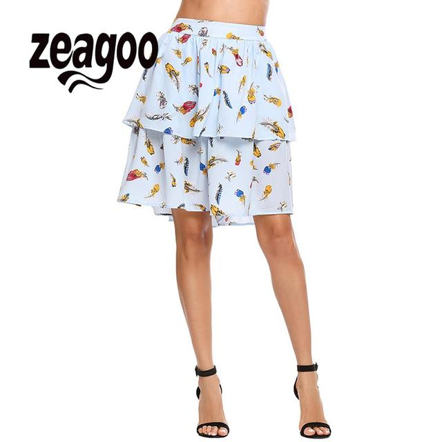 zeagoo Summer Casual Party Black Red Skirt Women Spring Tiered Mini Above A-Line Knee