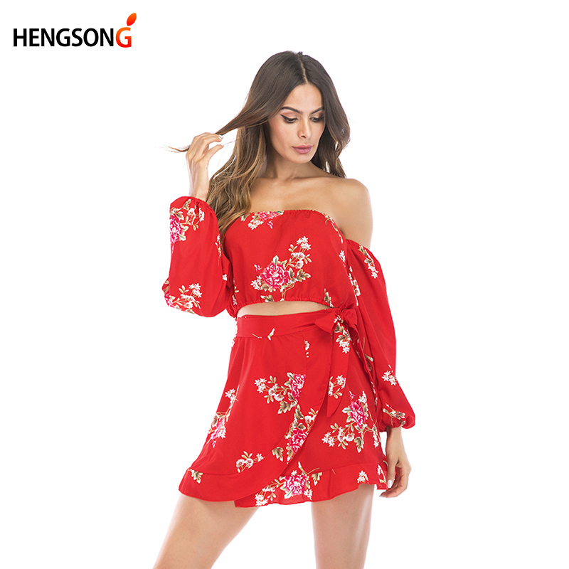 Fashion Women Two Piece Set Summer Floral Dress Off Shoulder Crop Tops Ruffles Skirts Women's Suit Party Beach Mini Skirt Dress