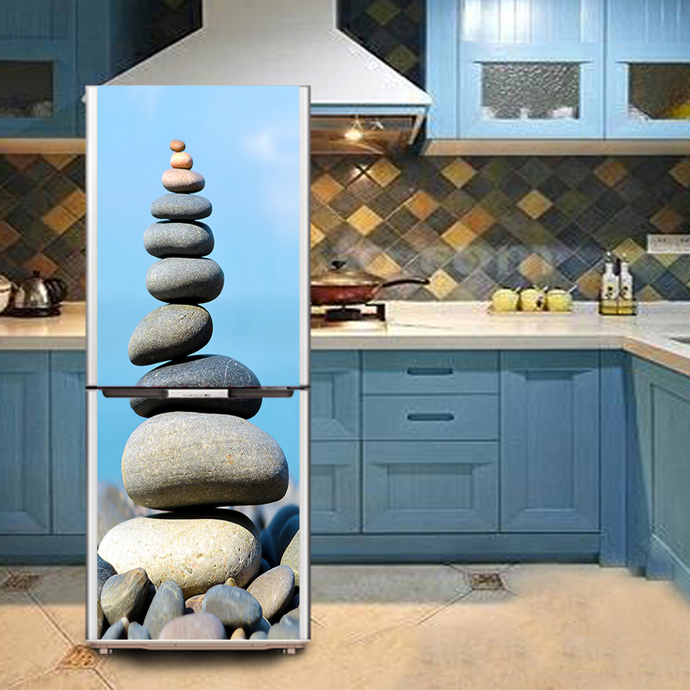 yazi HD Stacked Stone PVC Self Adhesive Refrigerator Door Cover Wall ...