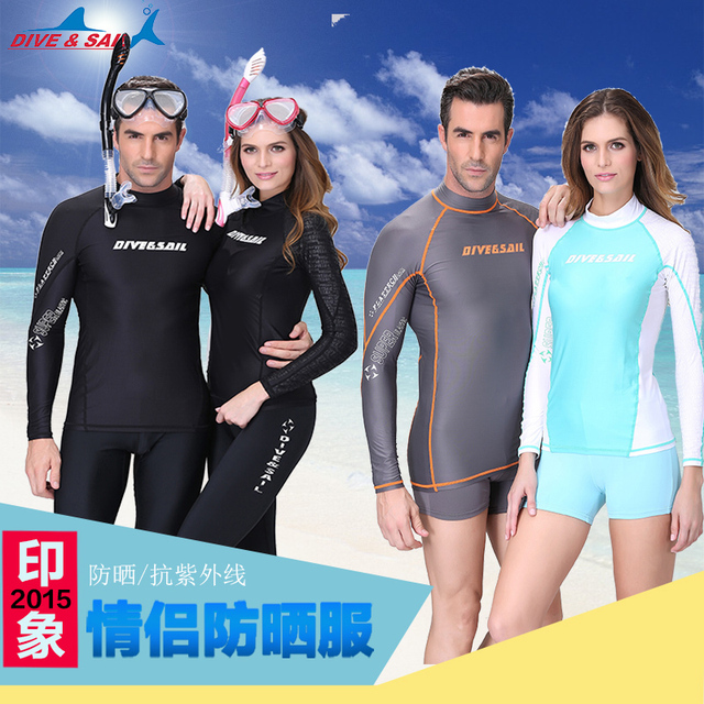 d5fb0fa2b3 LS-628 Men Women Super Elastic Lycra Floatsuit Skin Scuba Snorkeling  Swimwear Long sleeve Tops Surf Diving Suit