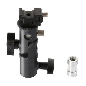 Image 2 - 2 упаковки, крепление для вспышки камеры Speedlite, поворотный светильник, подставка, кронштейн, зонт отражатель, держатель для canon, nikon, yongnuo, godox