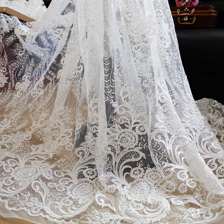 Sequins embroidered lace wedding dress fabric material diy for Cloth for wedding dresses