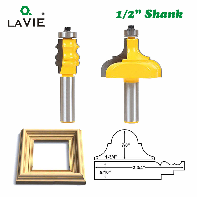 LAVIE 2pcs 12mm 1/2 Shank Picture Frame Router Bits Tenon Cutter C3 Carbide Line Bit Woodworking Milling Cutter For Wood MC03098