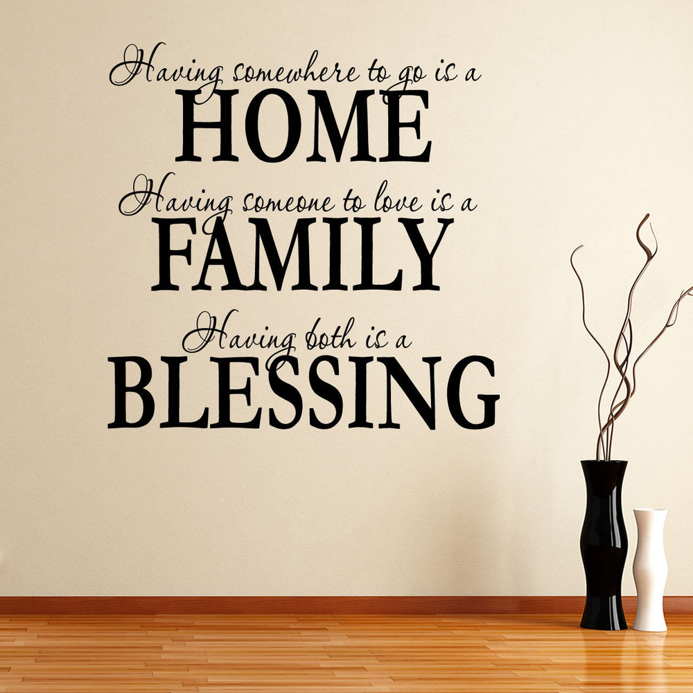 free shipping wall sticker 2016 new home decor quote removable decals family blessing 60x80cm pc art
