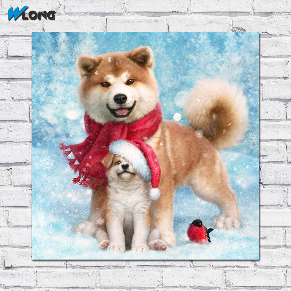 AKITA INU Dog CANVAS PRINT Dog Puppy Art Portrait Framed Wall Home Decor Gifts Collectibles