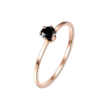 Single Fine Ring Titanium Steel Material Inlaid Transparent Black Fashion Trendy Ring for Women Jewelry Gift 1