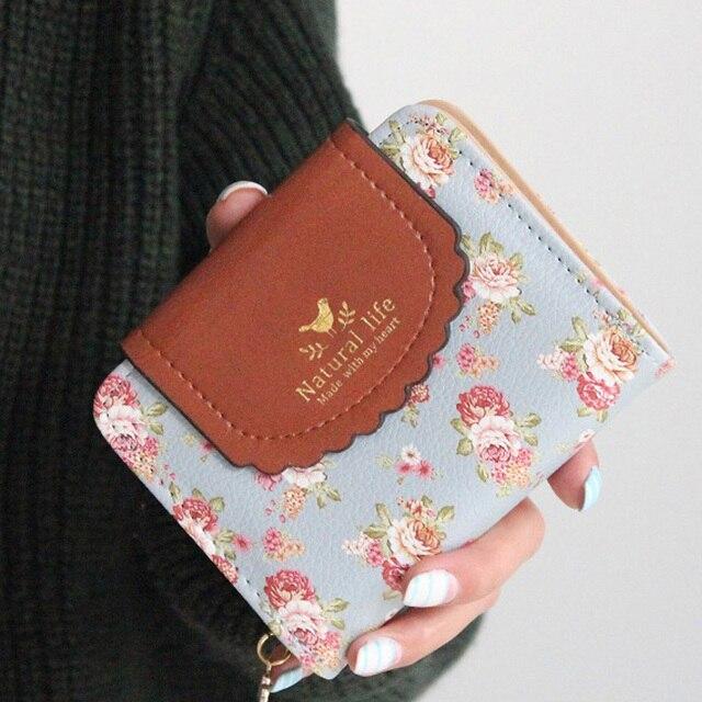 Японии сельский стиль женщины кошельки цветочный принт милая леди Carteira засов портмоне кошельки держателя карты