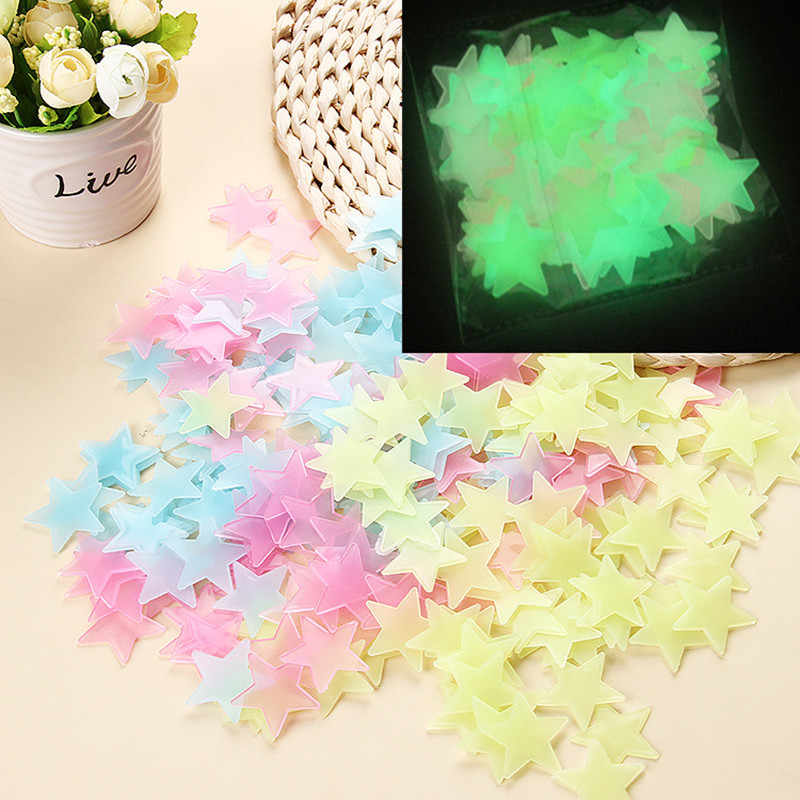 100 Pcs 3D Luminous Star Wall Stickers Home Decoration Wall Decals For Living Room Bedroom Kitchen Toilet Kids Room Decoration