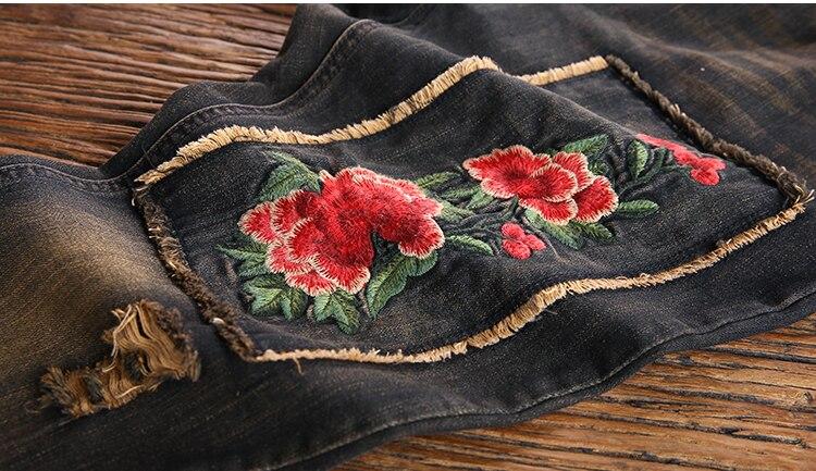 Photo Cintura Color Bordados Pantalones Ocasionales Verano 2018 Jeans Mezclilla A743 Mujeres Harem Vintage Primavera Elásticos Lkghulo Mujer Nueva De OwT4Aq