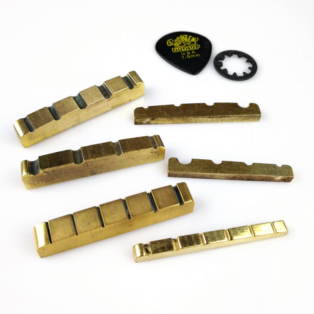 1 piece solid brass metal electric guitar nut bass nut for st tele lp guitars 4 string 5 string. Black Bedroom Furniture Sets. Home Design Ideas