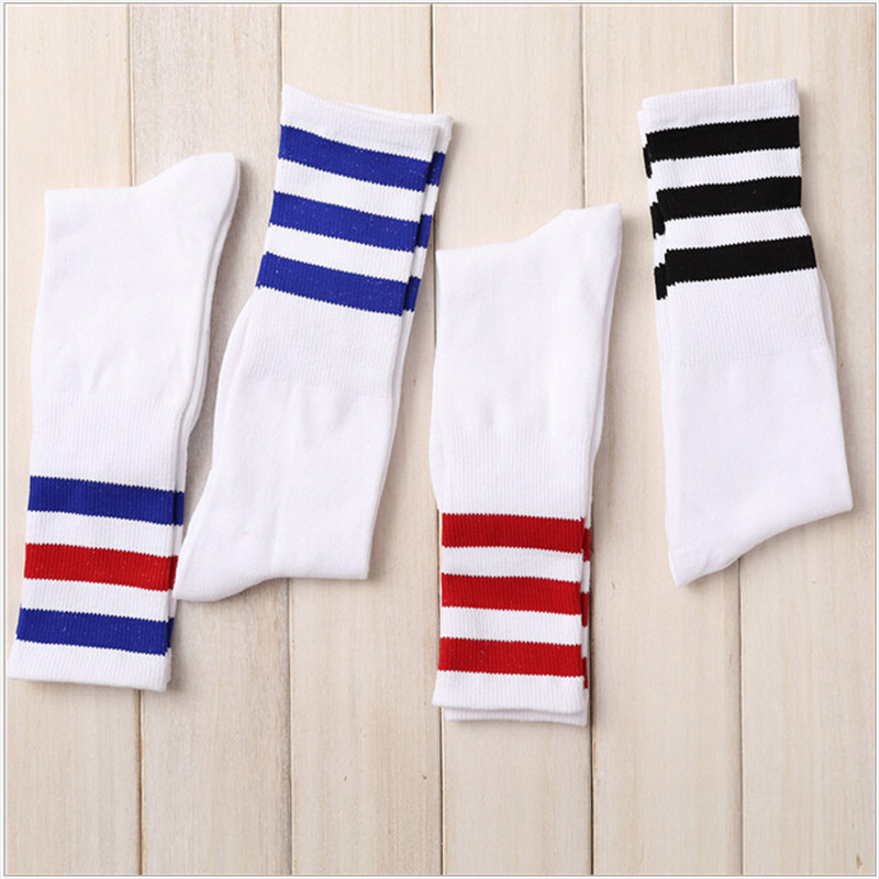 New Men/Women 3 Three Stripes Cotton Socks Retro Old School  Hiphop Skate Long Short  Meias  harajuku white black winter cool ...