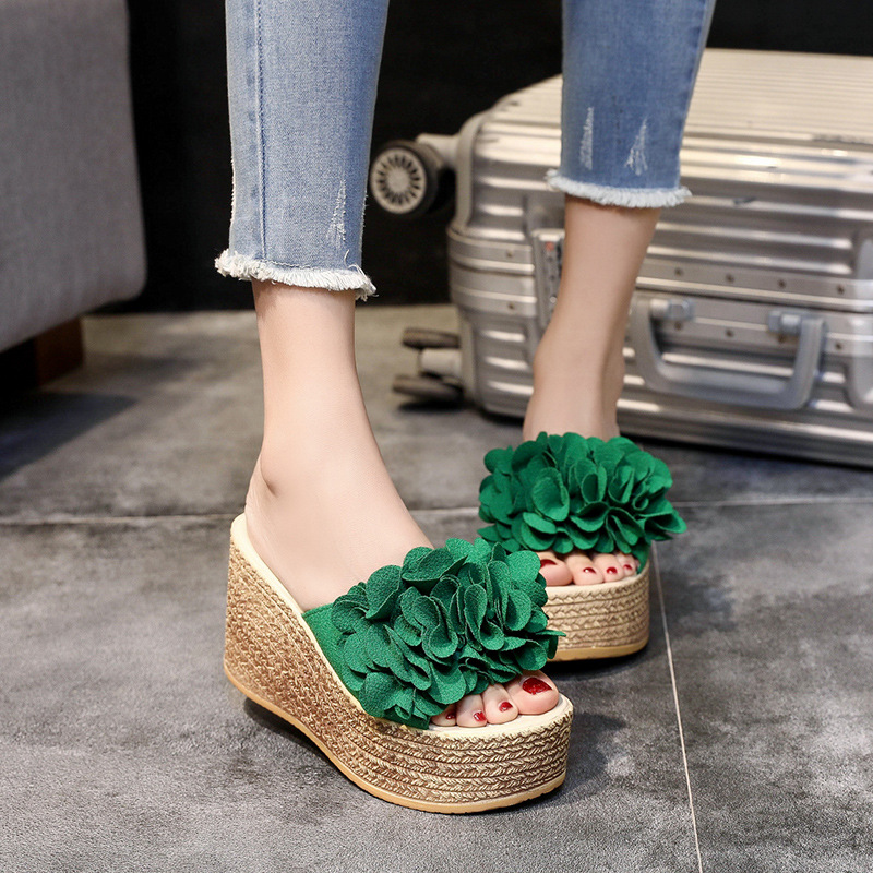 Wedge Sandals Slides Summer Slippers Green Shoes Flower Black Women Open Toes
