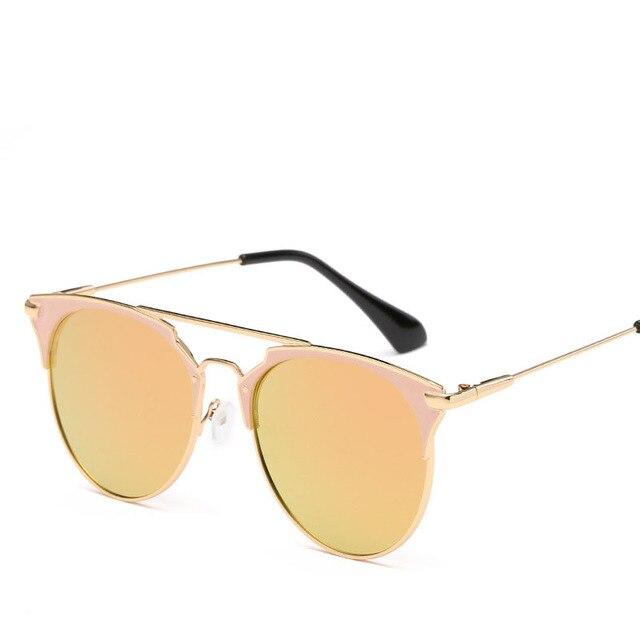 High Quality Cat Eye Sunglasses Women Brand Designer Pink Vintage Round Sun Glasses For Women Female Lady Sunglass Mirror Shades 1