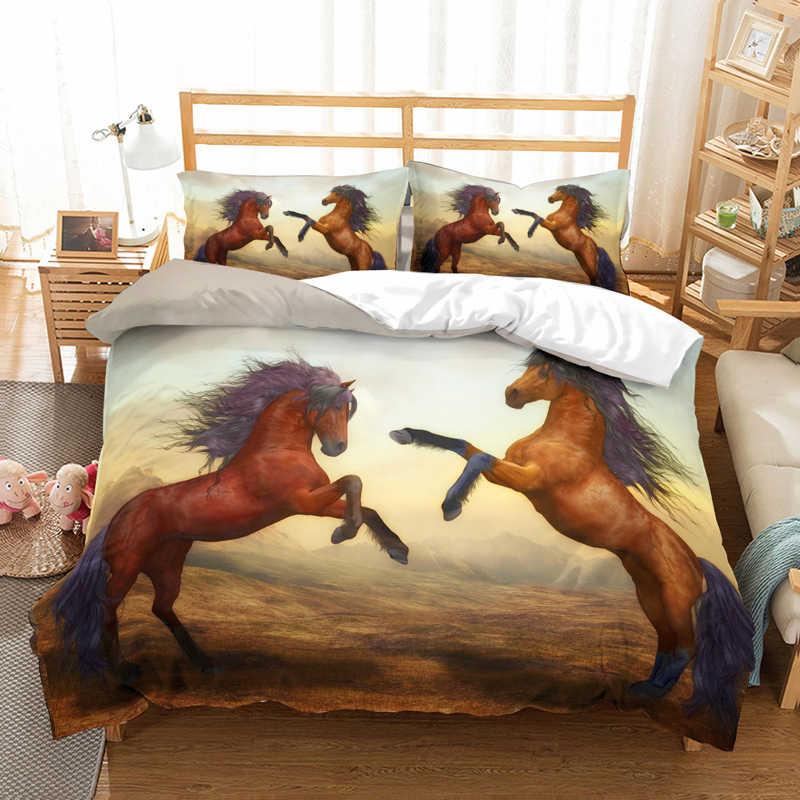 Juego de cama de Caballo corriendo en 3D, fundas de edredón decorativas para la habitación de los niños, fundas de almohada, edredones de caballo, juegos de cama, ropa de cama, ropa de cama