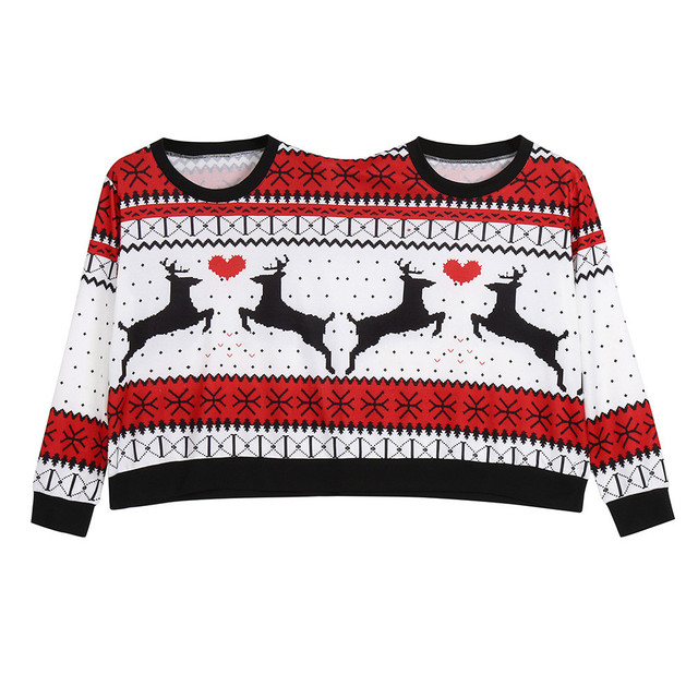 Two Person ugly christmas sweater Xmas Couples Pullover Novelty Christmas Blouse Top sweatershirt pull hiver femme 2018 2