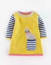 Новый Высокое качество Хлопка Девочек Платье Изысканной вышивкой лук кот платья Девушки Осень Свитер платье