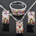 Impecável Multicolor Zircão Cúbico Para As Mulheres 925 Libras Esterlinas Conjuntos de Jóias de Prata Brincos/Pingente/Colar/Anéis Frete Grátis JS062