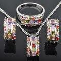 Impecable Multicolor Circón Cúbico Para Las Mujeres 925 Pendientes de Plata de La Joyería/Colgante/Collar/Anillos Envío Gratis JS062