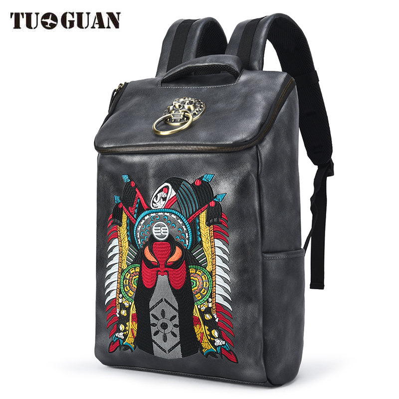 все цены на Chinese Men/Women Waterproof PU Backpack School Bagpack Vintage Embroidery Leather Laptop Bag Back Pack for Teenager Bagpack в интернете