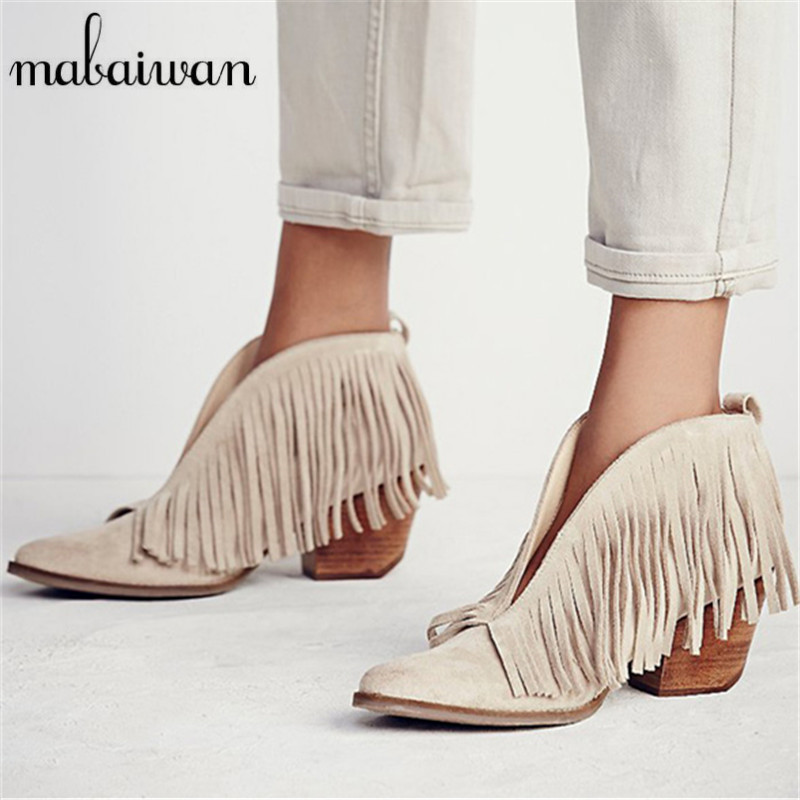 ФОТО Beige V Front Genuine Leather Women Pointed Toe Ankle Boots Slip On Tassels Chunky High Heels Women Pumps Fringed Botas Mujer